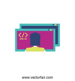 Isolated website code and girl vector design