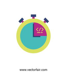 Isolated website code and chronometer vector design