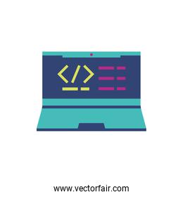 Isolated website code and laptop vector design