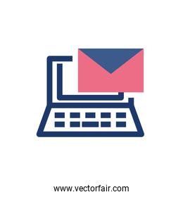Isolated envelope message and laptop vector design