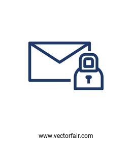 Isolated envelope message and padlock vector design