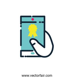 Isolated hand holding digital smartphone vector design