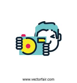 Isolated boy with camera device vector design