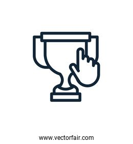 Isolated trophy and cursor vector design