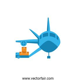 Isolated delivery boxes cart and airplane vector design