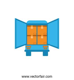 Isolated delivery truck and boxes vector design