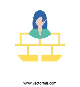 Businesswoman avatar with map vector design