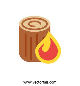 Isolated flame and wood trunk vector design