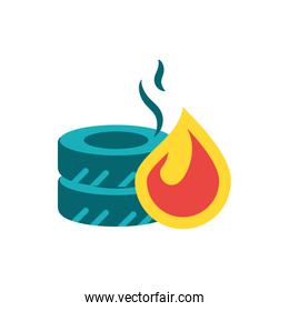 Isolated flame and wheels vector design