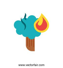 Isolated flame and tree vector design