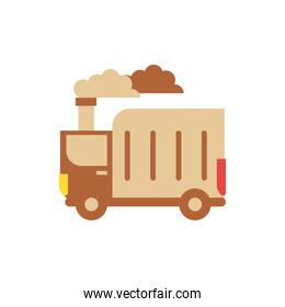 Isolated truck with dirty smoke vector design
