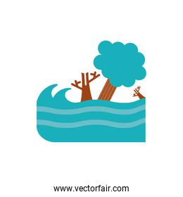 Isolated sea and trees vector design