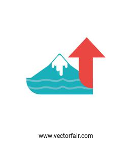 Isolated iceberg sea and red arrow vector design