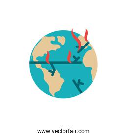 Isolated world and flames vector design