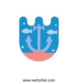Isolated fishes animals and anchor vector design