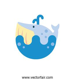 Isolated whale animal vector design