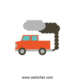 Isolated truck with smoke vector design