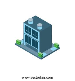 Isometric grey city building with shrubs vector design