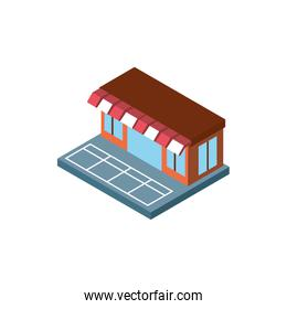 Isolated isometric store building vector design