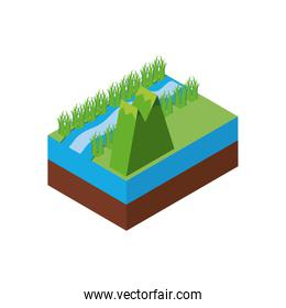Isolated isometric mountain and river vector design