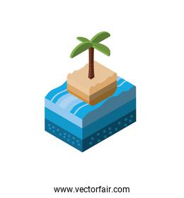 Isolated isometric palm tree and sea vector design