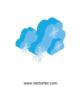 Isolated isometric cloud with snowflake vector design