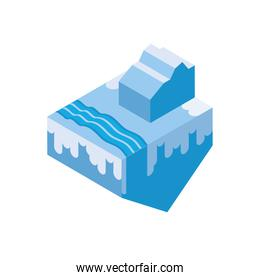 Isolated isometric iceberg and water vector design