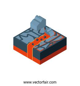 Isolated isometric volcanic lava and stone vector design