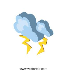 Isolated isometric cloud with thunders vector design