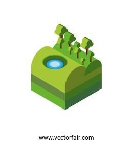 Isolated isometric trees and lake vector design