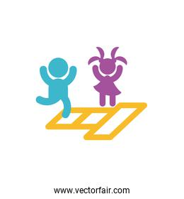 Avatar boy and girl jumping in hopscotch vector design