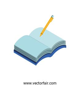 Isolated school notebook with pencil vector design