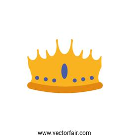 Isolated king blue and gold crown vector design