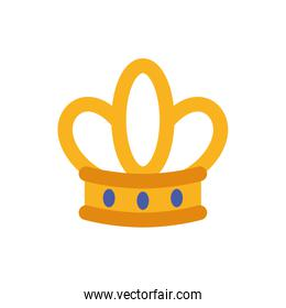 Isolated queen blue and gold crown vector design
