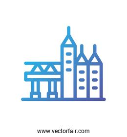 Isolated city buildings and bridge vector design