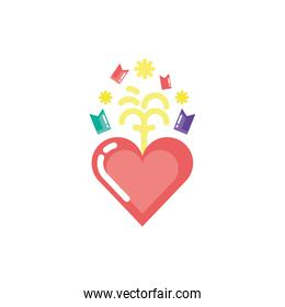 Isolated party heart and confetti vector design