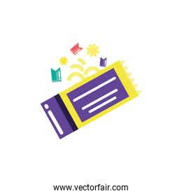 Isolated party ticket and confetti vector design