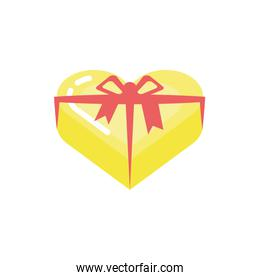 Gift heart with bowtie vector design