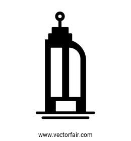 tower of apartment and office building , silhouette style icon