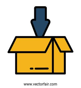 open box for download with arrow on white background
