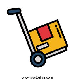 trolley delivery with box carton isolated icon