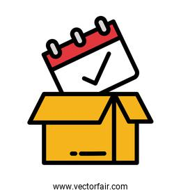 cardboard box with calendar, delivery date