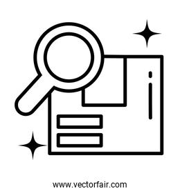 cardboard box with magnifying glass , linear style icon