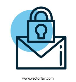 letter with padlock, line style icon