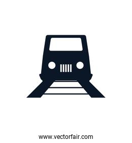 Isolated train and rail vehicle silhouette style icon vector design