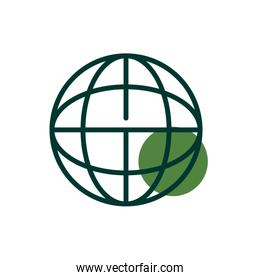 Isolated global sphere half line half color style icon vector design