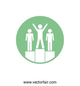 Isolated avatars on podium block silhouette style icon vector design
