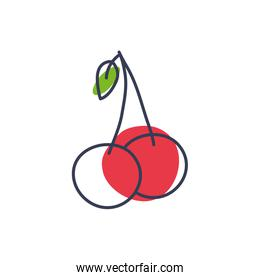 Isolated cherry fruit line color style icon vector design