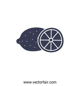Isolated lemon fruit silhouette style icon vector design