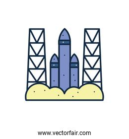 Isolated rocket line fill style icon vector design
